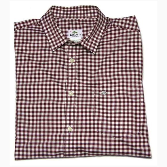 be70519c4f Lacoste Shirt Red White Check Men's 40 or Medium